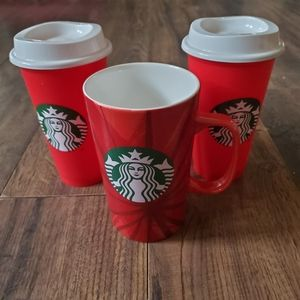 Starbucks 2014/2013 Red Holiday Coffee Cup Bundle